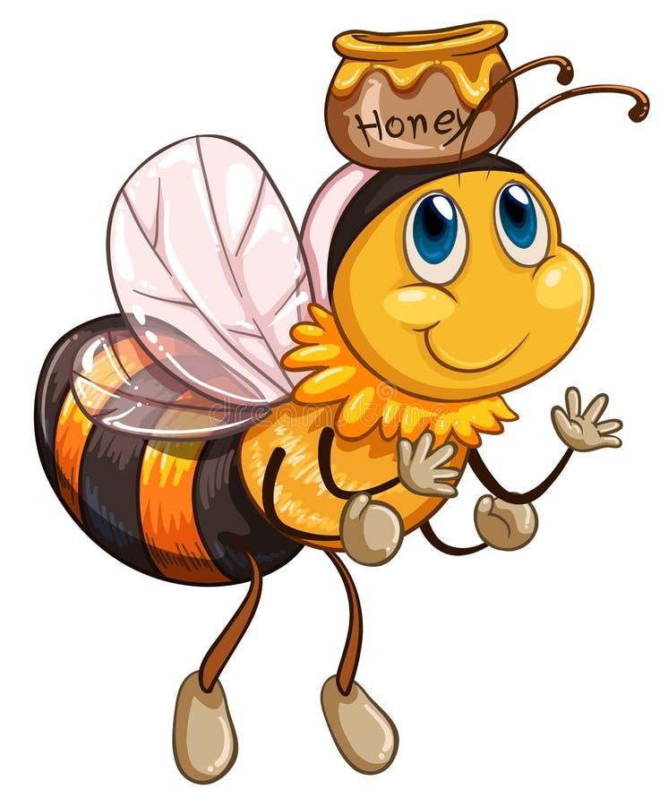 与一个罐的一次蜂飞行蜂蜜 库存例证