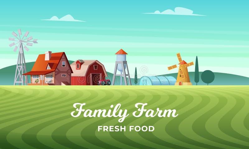 与一个美丽的农厂村庄的五颜六色的乡下风景 农村地点 日域热夏天麦子 种田横向 向量例证