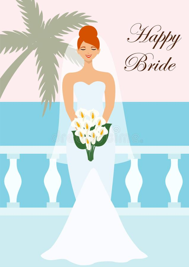 与一个美丽的新娘的喜帖在海附近 r 皇族释放例证