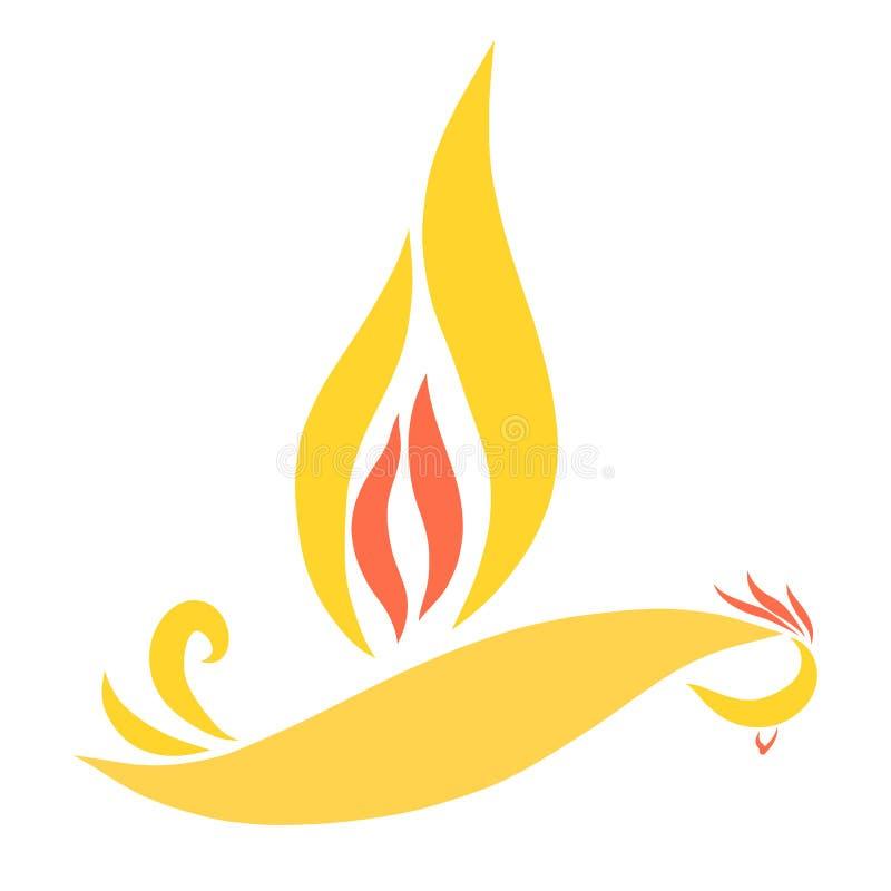 与一个翼的飞鸟以火焰的形式 皇族释放例证