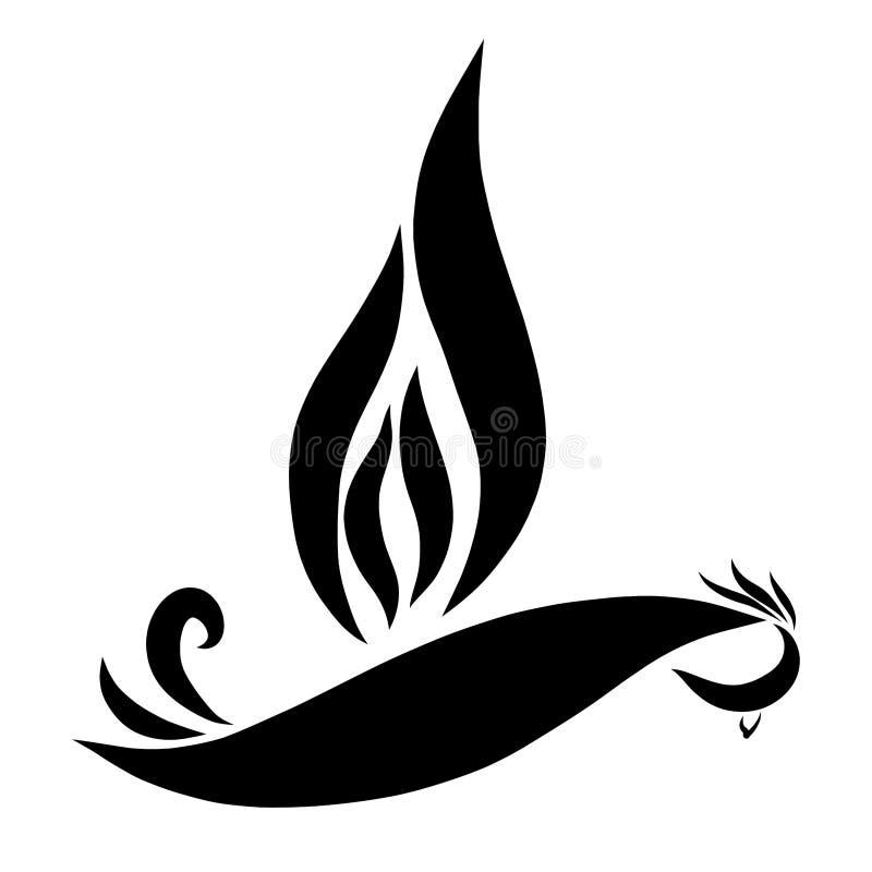 与一个翼的飞鸟以火焰的形式 向量例证
