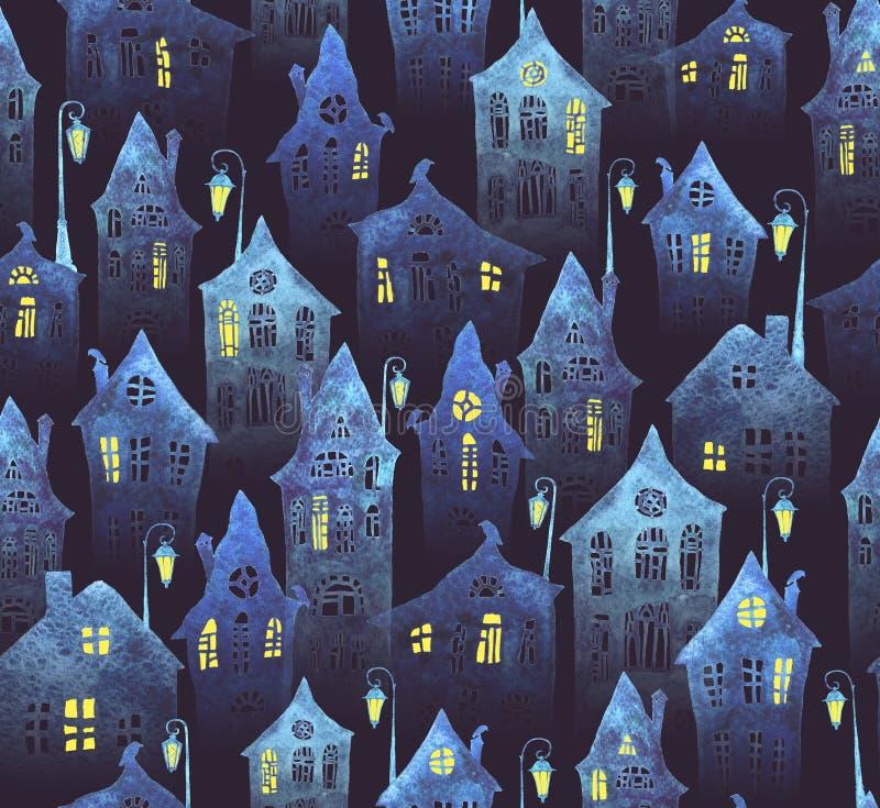 与一个老城市的无缝的样式夜 有被点燃的在水彩绘的窗口和灯笼的弯曲的房子 向量例证