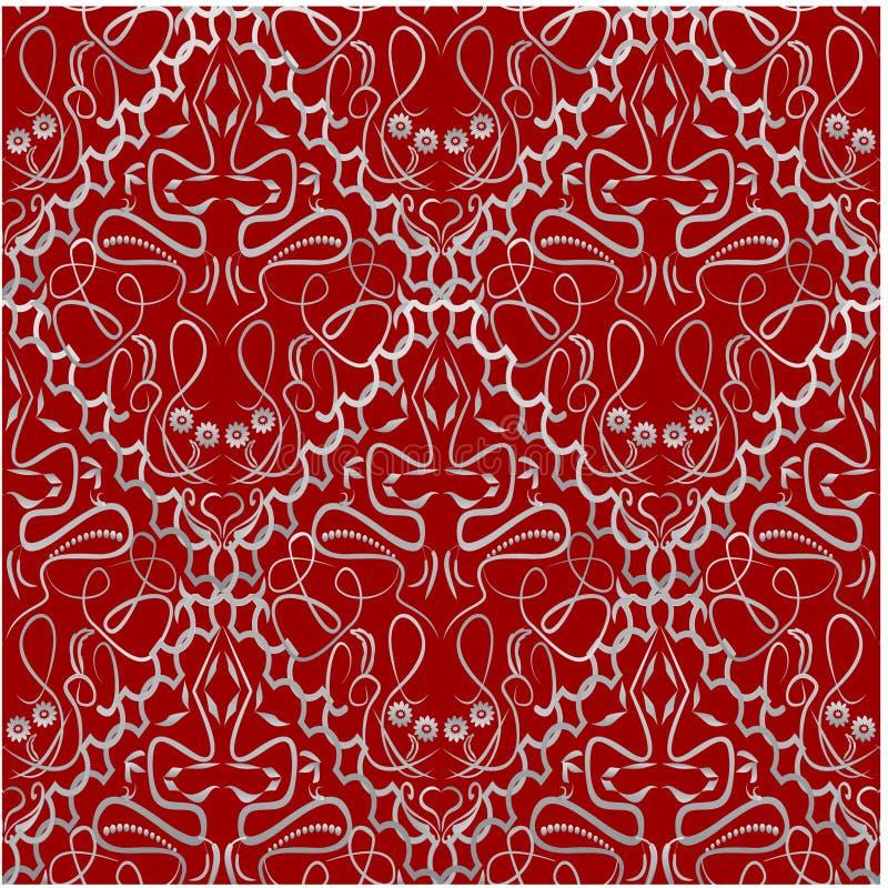 与一个老式锦样式的红色织品 皇族释放例证