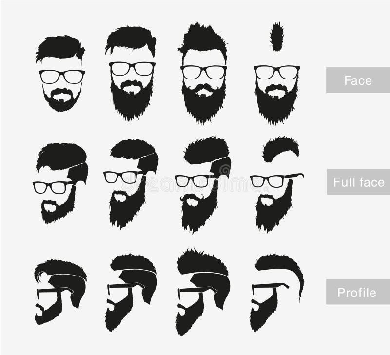 与一个胡子的发型在面孔,正面和 向量例证