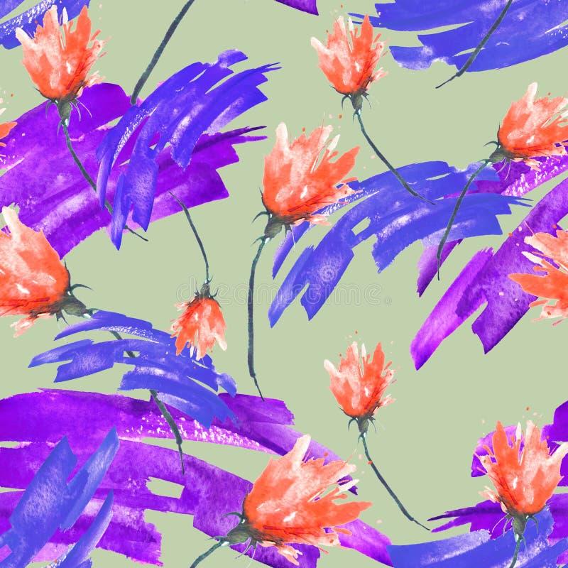 与一个花卉样式,一朵玫瑰色花,郁金香,叶子,淡紫色,野花的分支的水彩无缝的葡萄酒背景 向量例证