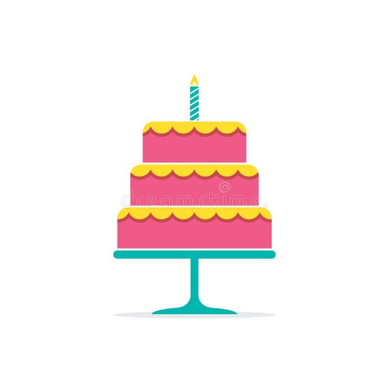 与一个蜡烛的五颜六色的堆蛋糕 皇族释放例证