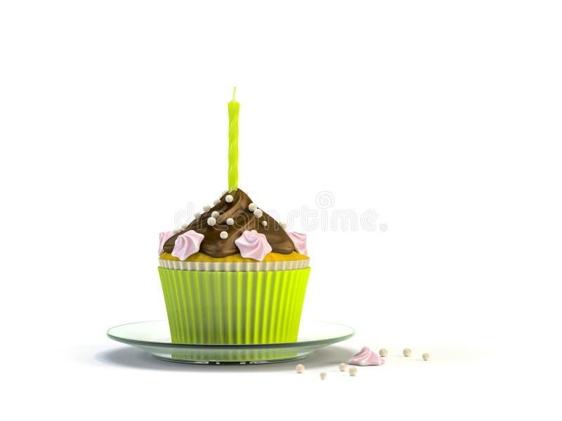 与一个蜡烛的可口杯形蛋糕 向量例证