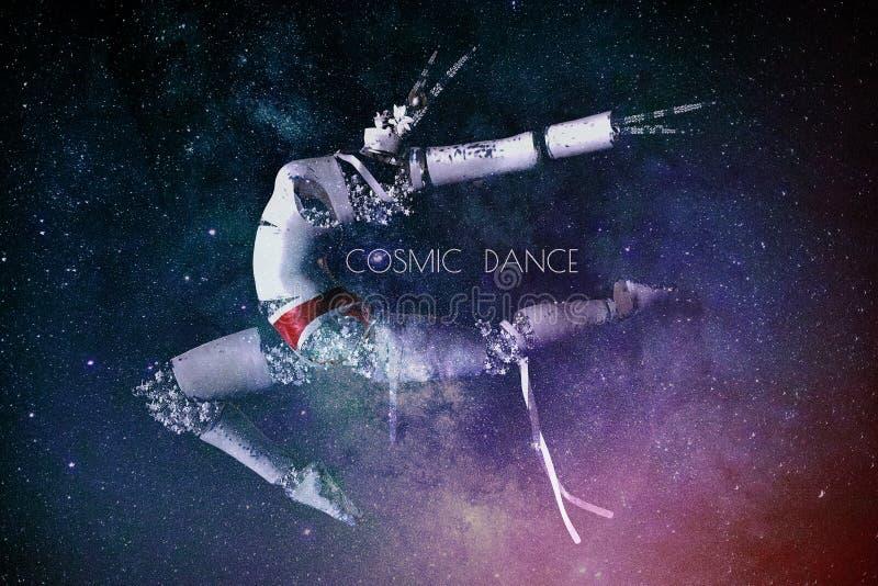 与一个跳舞的图的幻想例证在的星和说的文本下宇宙舞蹈 库存例证