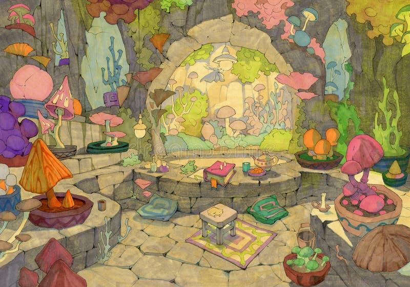 与一个逗人喜爱的冬景花园的手拉的动画片例证与许多另外幻想采蘑菇 皇族释放例证