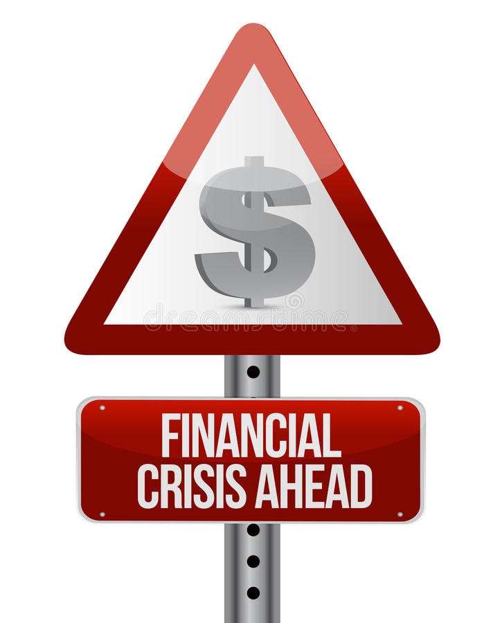 与一个金融危机概念的警告路标 库存例证