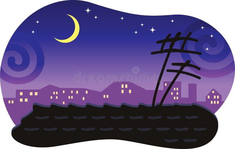 与一个铺磁砖的屋顶的风格化晚上都市风景。 皇族释放例证