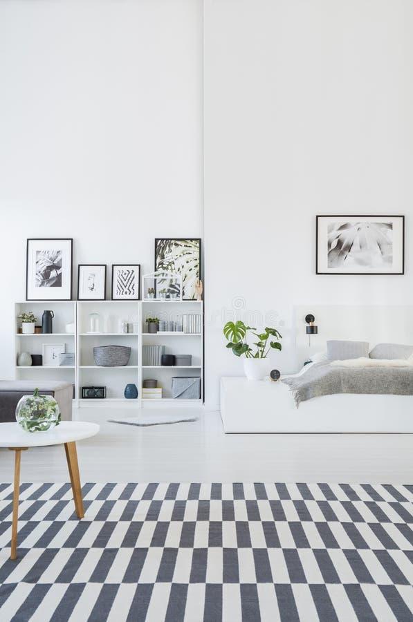 与一个镶边地毯的宽敞,灰色和白色卧室内部, bo 免版税库存照片