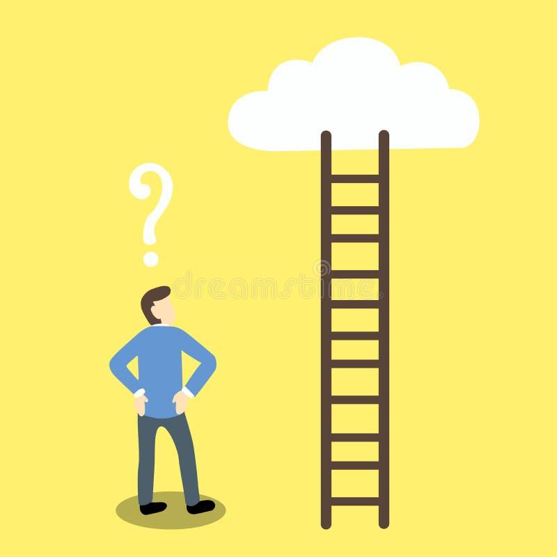与一个问号的例证商人在他的头上看带领覆盖的一架梯子 库存例证