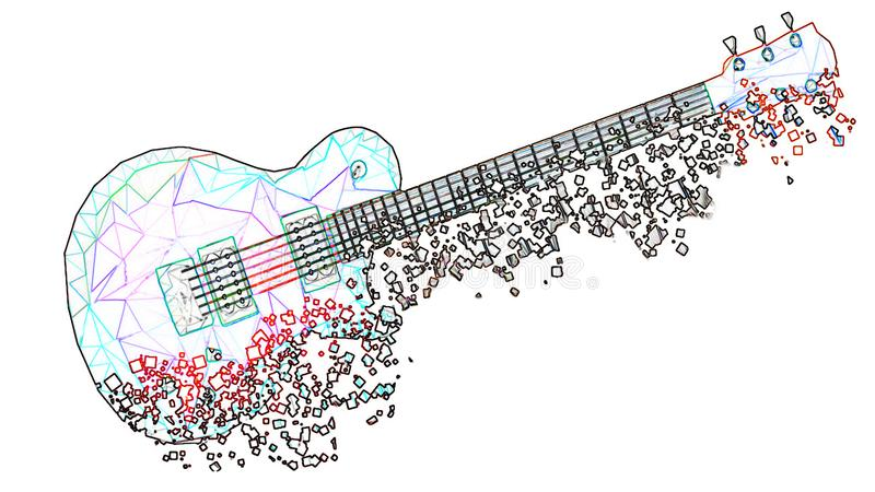与一个霓虹作用的三角形成的白色几何吉他在映象点退色 库存例证