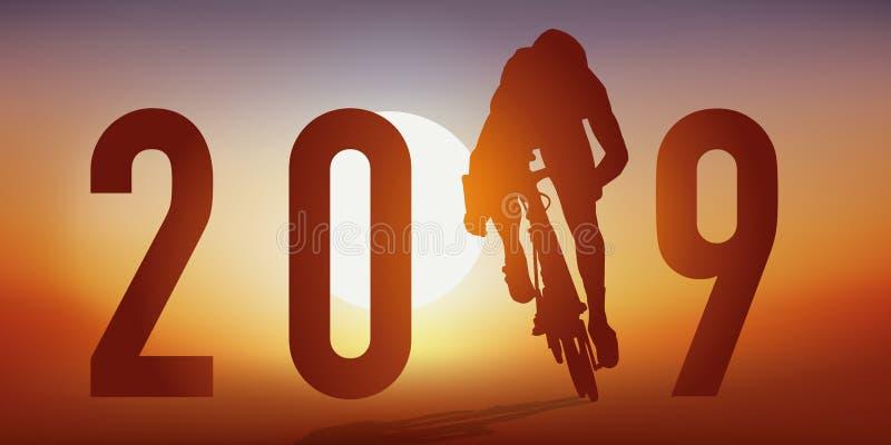 2019与一个骑自行车者的以循环主题的卡片行动的,跨过终点线 向量例证