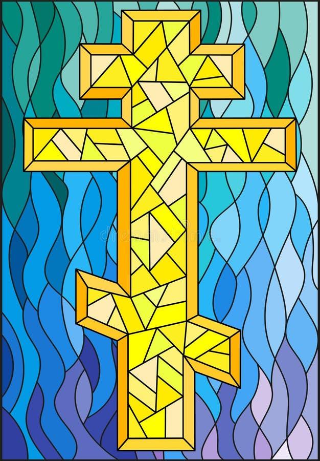 与一个黄色十字架的彩色玻璃例证在蓝色波浪背景 向量例证