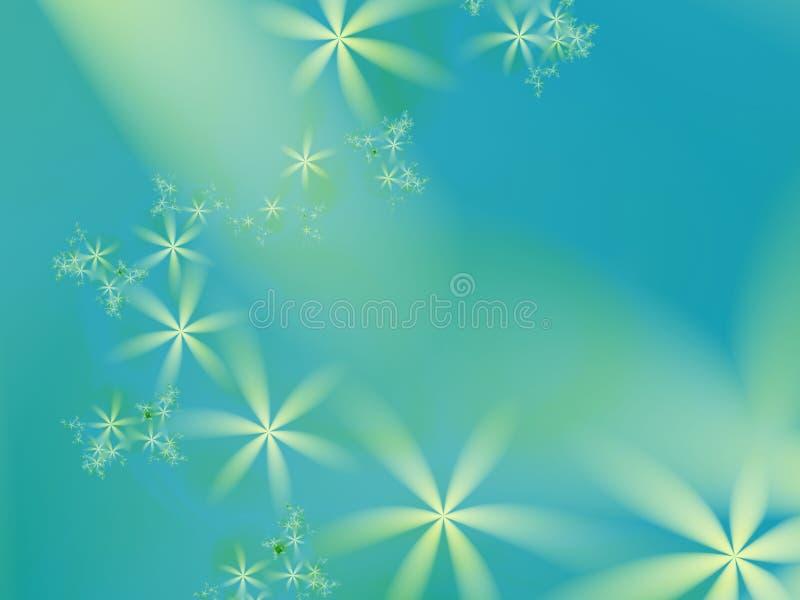 与一个任意镇定的花卉样式的蓝绿色/小野鸭分数维 库存例证