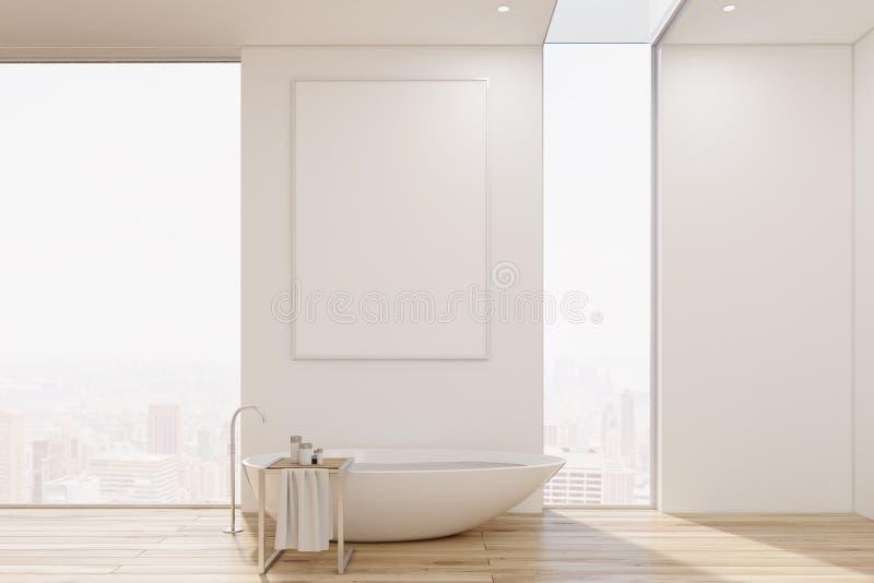 与一个浴缸的白色卫生间内部原始的形状和毛巾架 向量例证