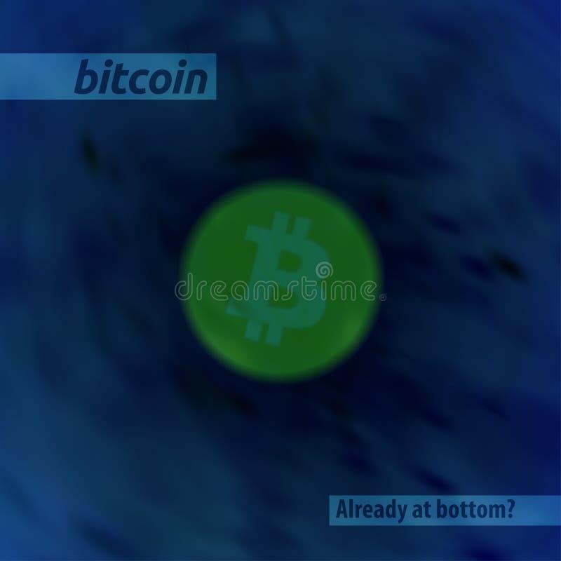 与一个bitcoin标志的抽象模板在深度 向量 库存例证