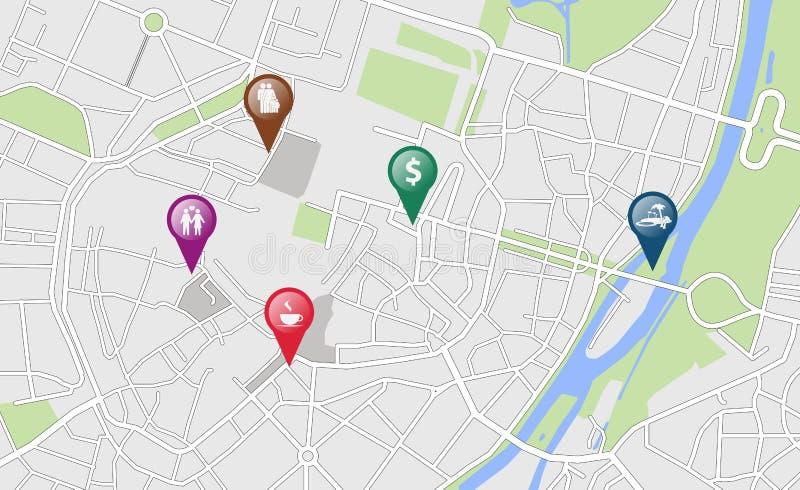 与一些地点标记的城市地图 皇族释放例证