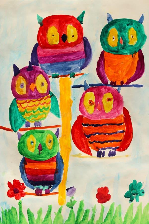 与一些好的神仙的猫头鹰的儿童的图画 向量例证