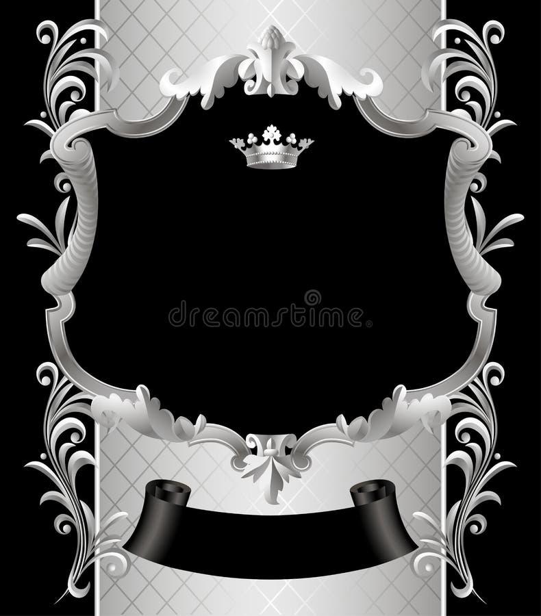 与一件冠和装饰品的葡萄酒银色框架在黑色 向量例证