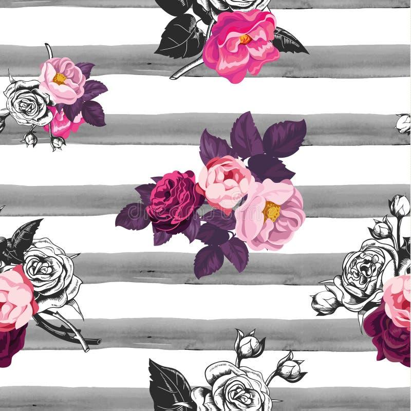 与一半的花卉无缝的样式上色了花和灰色手画水彩条纹在背景 库存例证