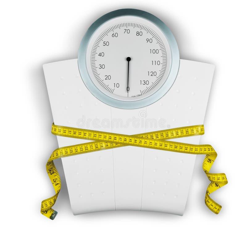与一卷测量的磁带的体重计在背景 向量例证