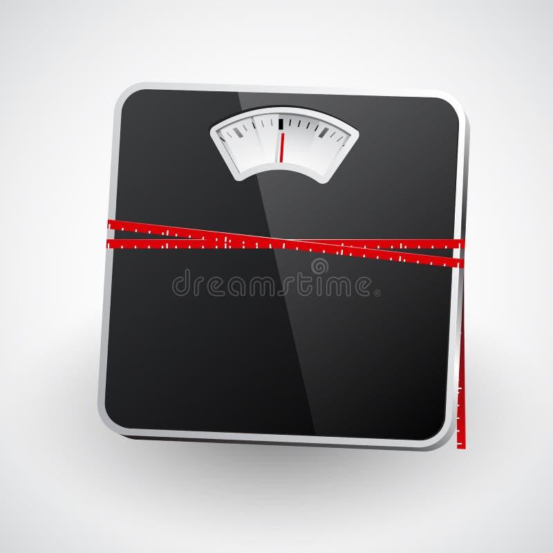 与一卷测量的磁带的体重计 向量 向量例证