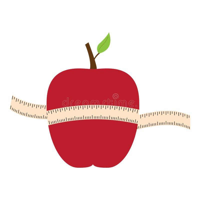 与一卷测量的磁带的被隔绝的苹果 库存例证