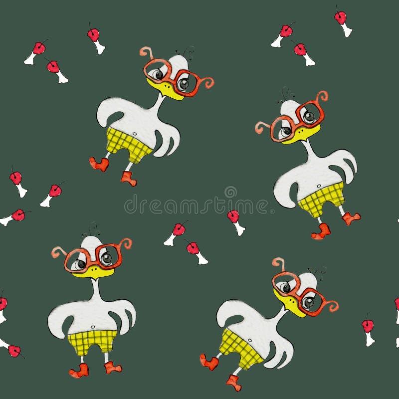 与一只卡通效果白色鸡的无缝的样式在红色玻璃,聪明和恼怒 绘在水彩 皇族释放例证
