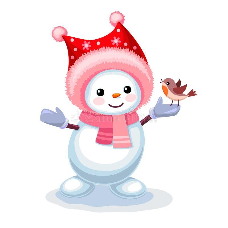 与一只小鸟的逗人喜爱的雪人在白色bac隔绝的他的手上 皇族释放例证