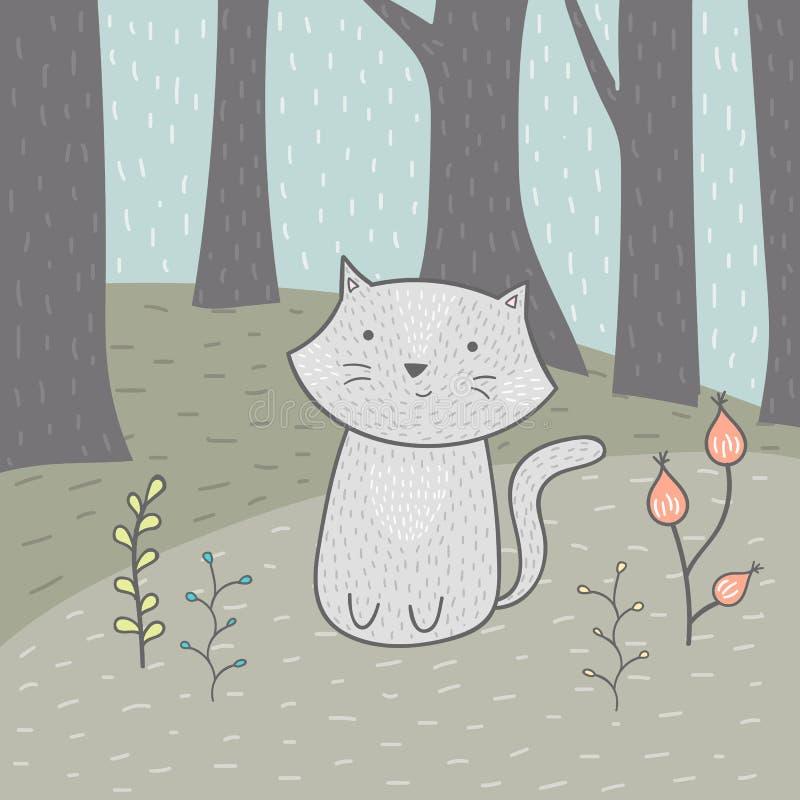 与一只猫和花的逗人喜爱的手拉的卡片在森林里 免版税库存照片