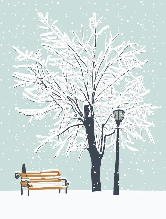 与一只猫的冬天风景在积雪的公园 皇族释放例证