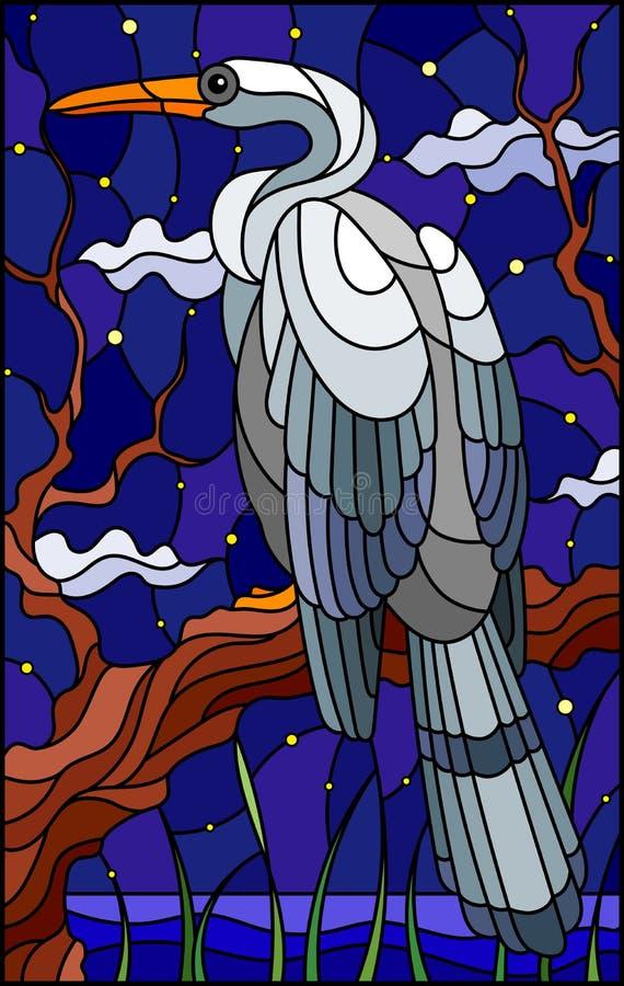 与一只白色苍鹭鸟的彩色玻璃例证坐在沼泽和繁星之夜天空背景的一棵树  向量例证