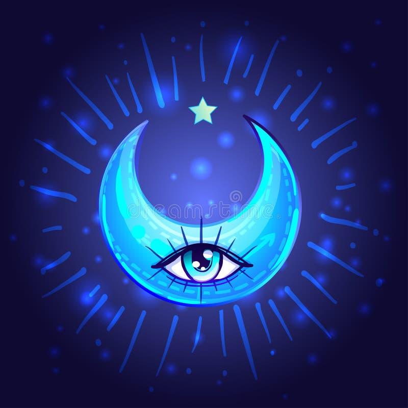 与一只眼睛的神秘的新月形月亮在芳香树脂或manga样式 手 皇族释放例证