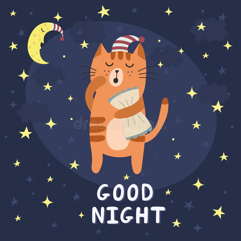 与一只逗人喜爱的困猫的晚上好卡片 向量例证