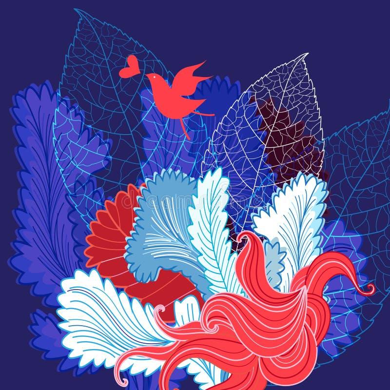 与一只鸟的美好的自然花卉背景在爱 库存例证