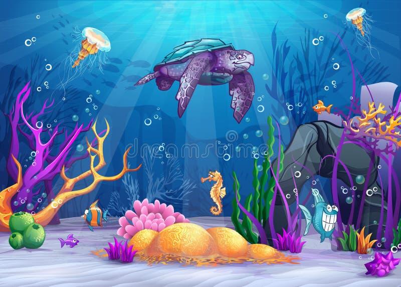 与一只滑稽的鱼和乌龟的水下的世界 向量例证