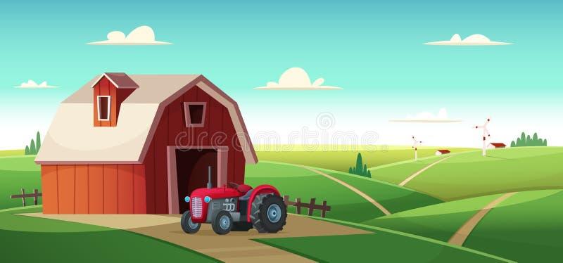 与一台谷仓和拖拉机的五颜六色的乡下风景在小山 农村地点 动画片现代传染媒介例证 向量例证
