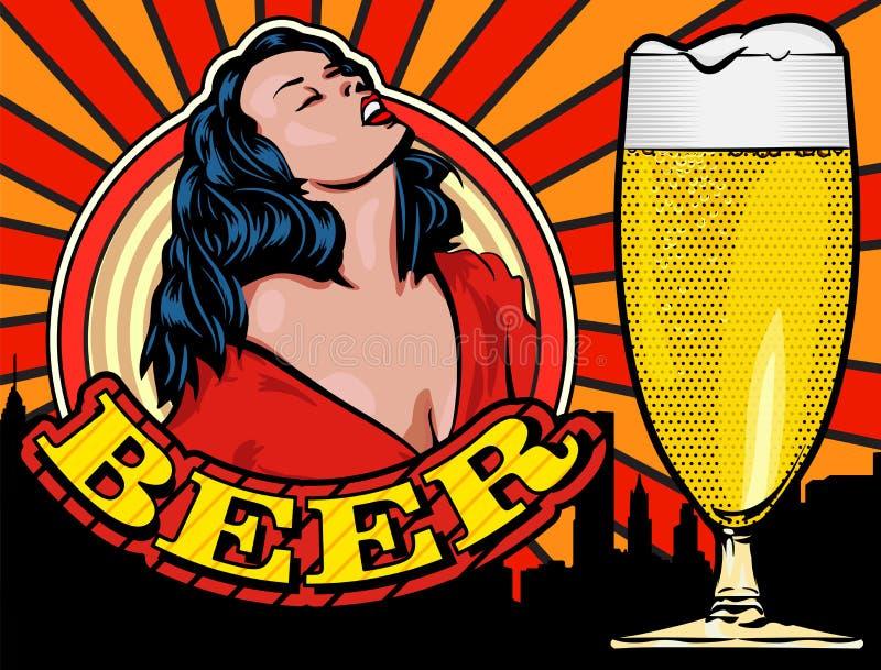 与一名快乐的妇女的乱画喝从瓶的酒 漫画样式 背景的城市 文本星期五 啤酒杯查出的白色 蓝色云彩图象彩虹天空向量 皇族释放例证