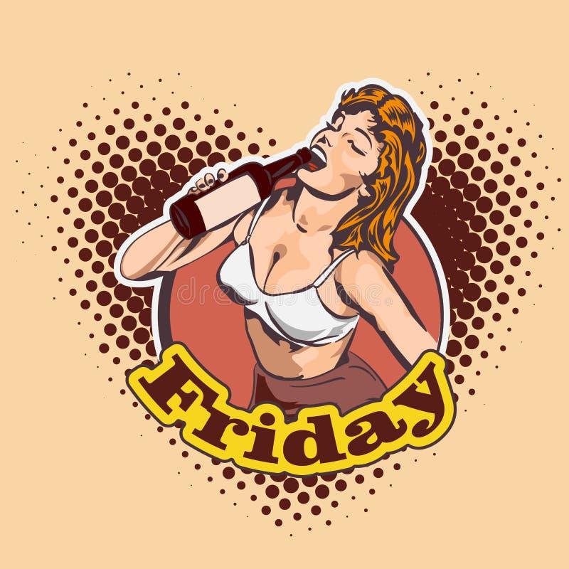 与一名快乐的妇女的乱画喝从瓶的酒 漫画样式 背景的城市 文本星期五 啤酒杯查出的白色 蓝色云彩图象彩虹天空向量 向量例证