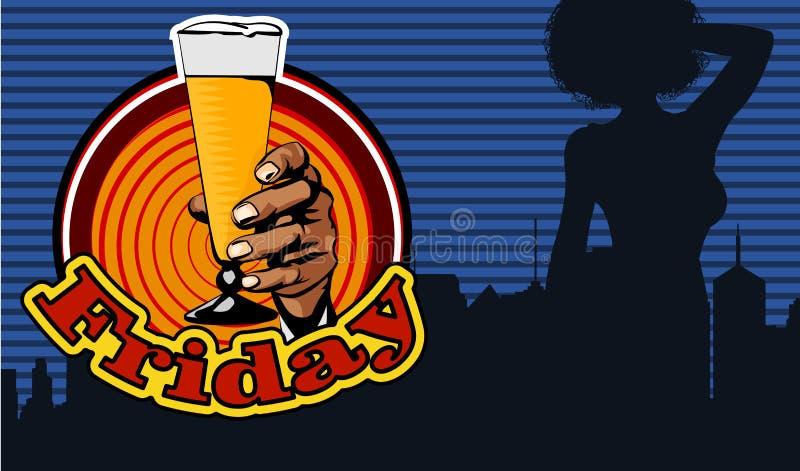 与一名快乐的妇女的乱画喝从瓶的酒 漫画样式 背景的城市 文本星期五 啤酒杯查出的白色 蓝色云彩图象彩虹天空向量 库存例证