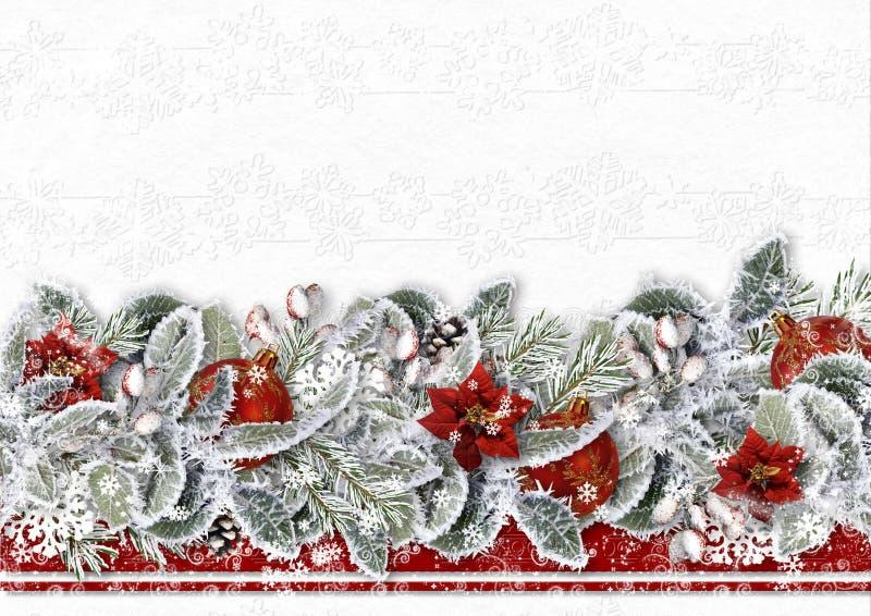 与一品红、雪分支和球的圣诞节边界在白色背景 2007个看板卡招呼的新年好 库存图片