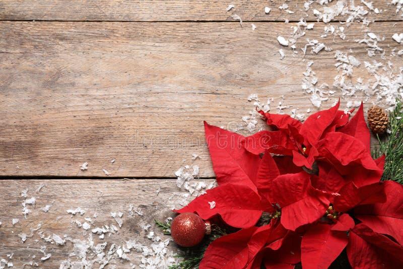与一品红的平的被放置的构成 传统圣诞节花 免版税库存图片
