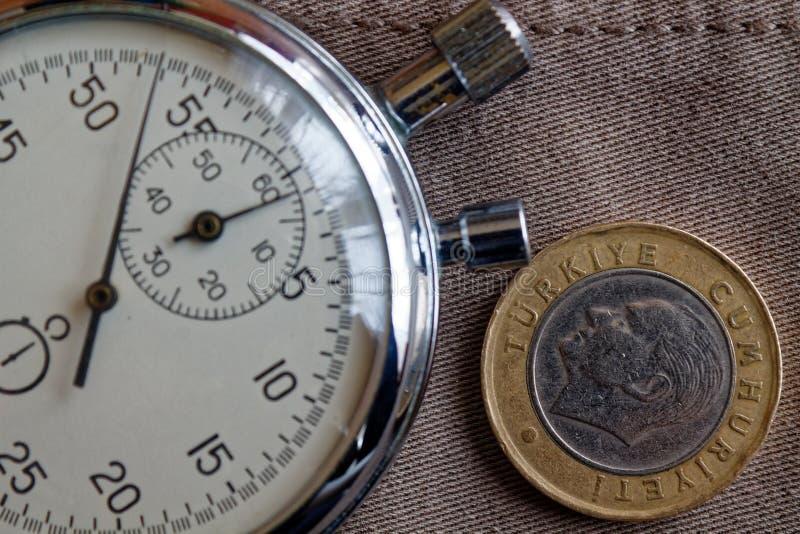 与一在破旧的米黄牛仔布背景-企业背景的里拉(后部)和秒表的衡量单位的土耳其硬币 免版税库存图片