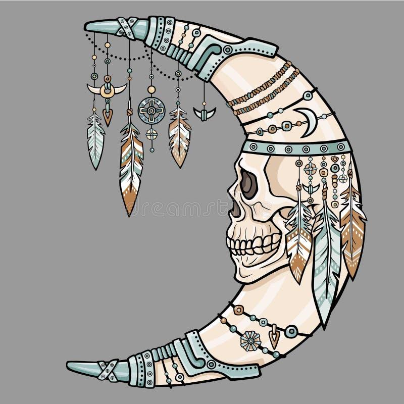 与一块人的头骨的意想不到的月牙人 皇族释放例证