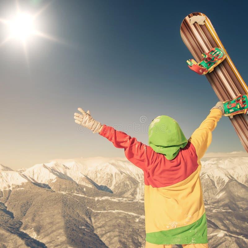 与一块女性挡雪板的画象的Snwbrd图象,格林德瓦 免版税库存照片