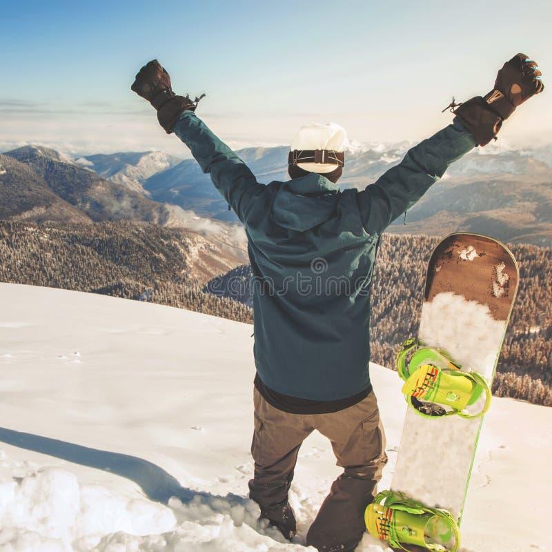 与一块女性挡雪板的画象的Snwbrd图象,格林德瓦 免版税图库摄影