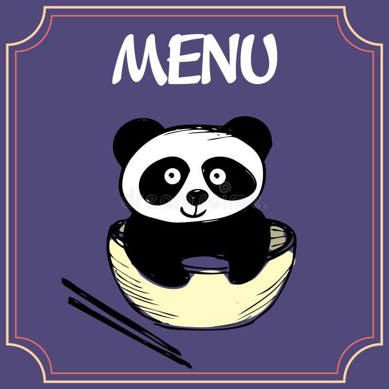 Download 与一块板材的熊猫有筷子、菜单或者横幅的 向量例证. 插画 包括有 波儿地克的, 茴香, 乐趣, 汉语, 设计 - 62529381